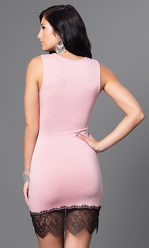 Image of v-neck fitted short dress with Lace Hem Style: CCC-6B7334 Back Image