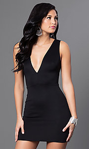 Image of black low v-neck short sleeveless dress  Style: CCC-6N3178 Front Image