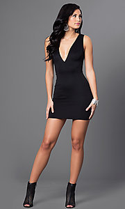 Image of black low v-neck short sleeveless dress  Style: CCC-6N3178 Detail Image 1