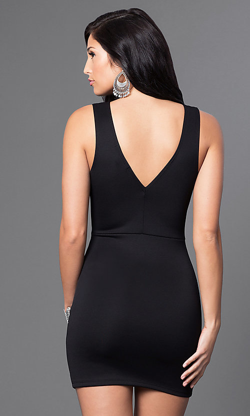 Image of black low v-neck short sleeveless dress  Style: CCC-6N3178 Back Image