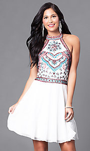 Image of short homecoming dress with embellished halter bodice. Style: SK-1085-I Front Image