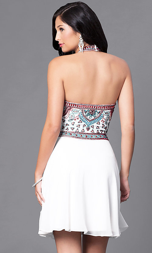 Image of short homecoming dress with embellished halter bodice. Style: SK-1085-I Back Image