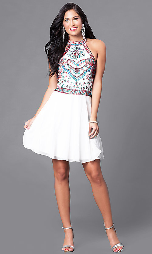 Image of short homecoming dress with embellished halter bodice. Style: SK-1085-I Detail Image 1