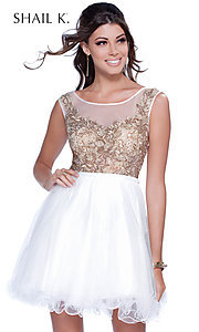 Short Embellished Applique Bodice Dress