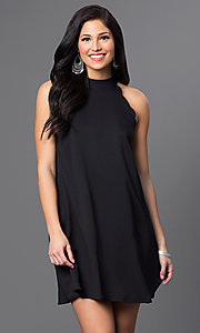 Image of short sleeveless side-pocket shift dress Style: VJ-LD40936 Front Image