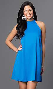 Image of short sleeveless side-pocket shift dress Style: VJ-LD40936 Detail Image 2