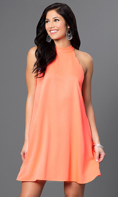 Image of short sleeveless side-pocket shift dress Style: VJ-LD40936 Detail Image 3