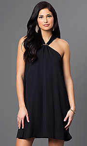 Image of short open-shoulder day-to-night black shift dress. Style: VJ-LD40981G Front Image