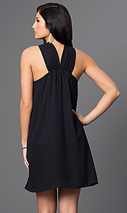 Image of short open-shoulder day-to-night black shift dress. Style: VJ-LD40981G Back Image