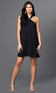 Image of short open-shoulder day-to-night black shift dress. Style: VJ-LD40981G Detail Image 1