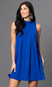 Short High Neck Sleeveless Shift Dress