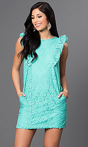 Image of short lace dress with shoulder ruffles and pockets Style: VJ-VD31488 Detail Image 2