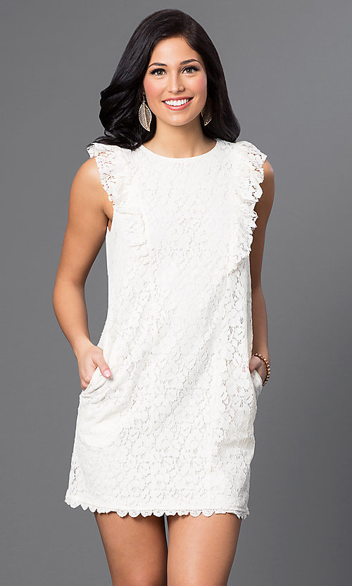 Image of short lace dress with shoulder ruffles and pockets Style: VJ-VD31488 Front Image