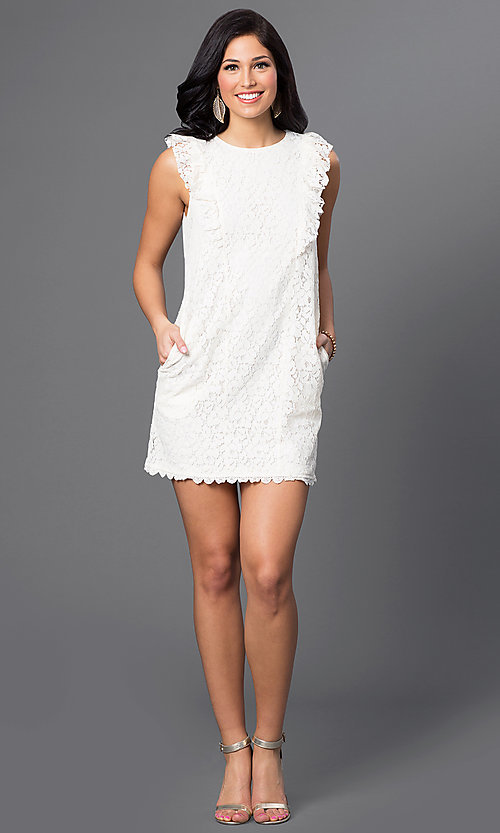 Image of short lace dress with shoulder ruffles and pockets Style: VJ-VD31488 Detail Image 1