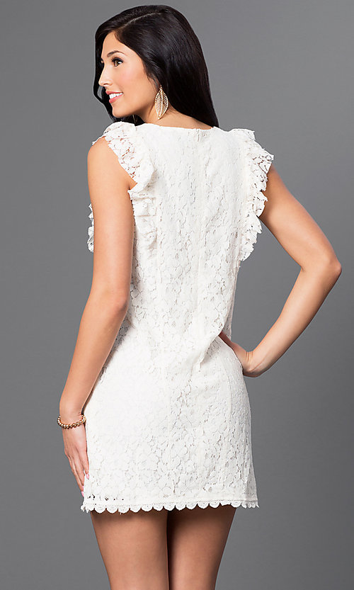 Image of short lace dress with shoulder ruffles and pockets Style: VJ-VD31488 Back Image