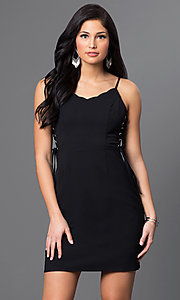 Image of short sleeveless dress with lace sides Style: VJ-VD31513 Front Image