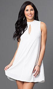 High-Neck A-Line Shift Dress with Keyhole