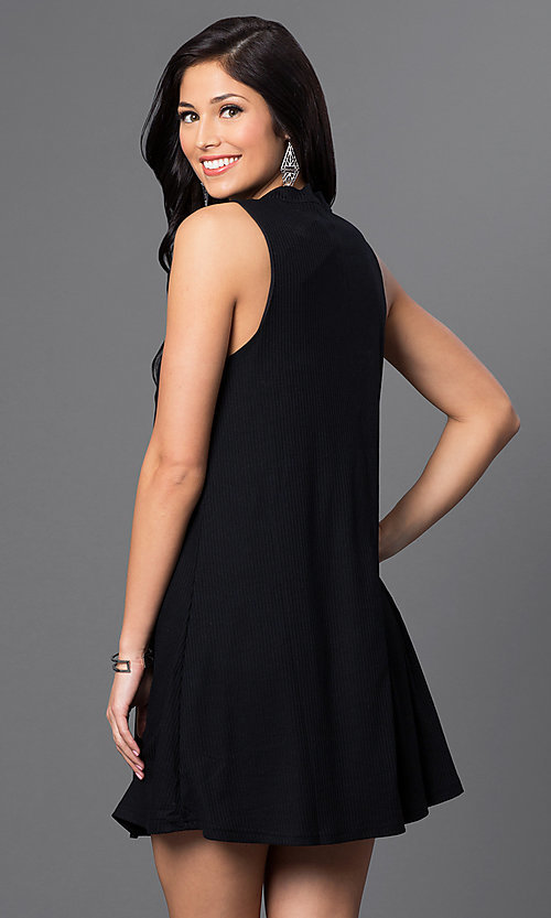 Image of high-neck a-line shift dress with keyhole Style: VJ-VD31578 Back Image