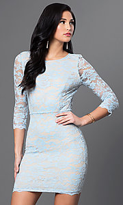 Image of 3/4 sleeve open-back short fitted lace dress. Style: DC-44218 Front Image