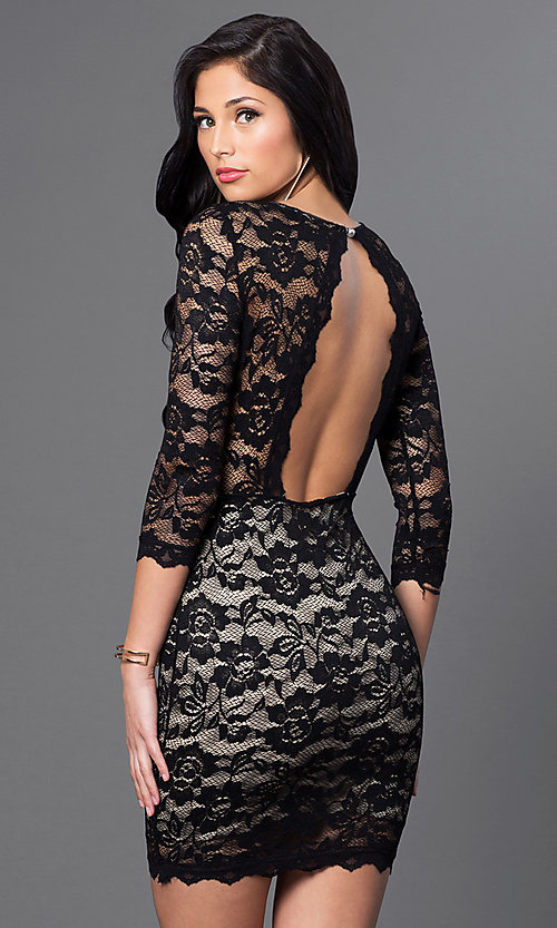 Image of 3/4 sleeve open-back short fitted lace dress. Style: DC-44218 Back Image