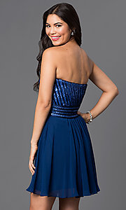 Image of short chiffon homecoming dress with sequined bodice. Style: PO-7716 Back Image