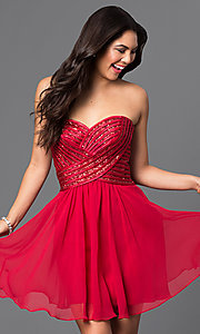 Image of short chiffon homecoming dress with sequined bodice. Style: PO-7716 Front Image
