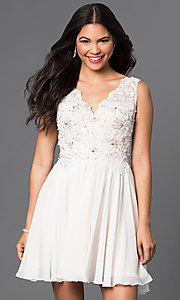 Short Embellished Lace Applique V-Neck Dress