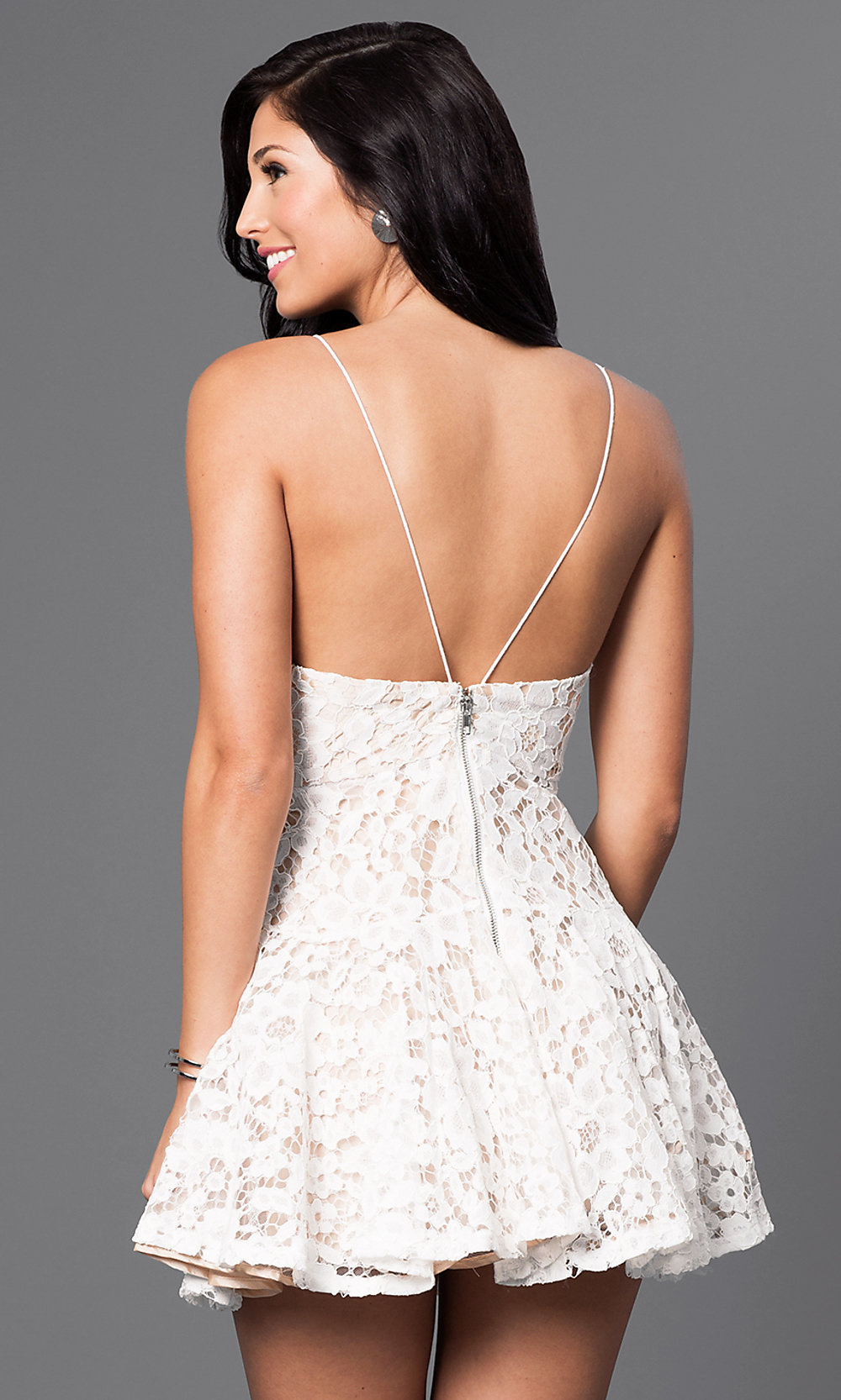 lace party dress with spaghetti straps promgirl