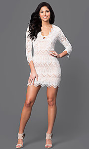 Image of short 3/4 sleeve v-neck lace dress Style: LUX-LD2260 Detail Image 1