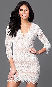 Image of short 3/4 sleeve v-neck lace dress Style: LUX-LD2260 Detail Image 2