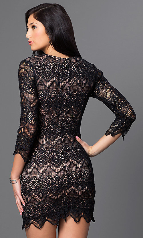 Image of short 3/4 sleeve v-neck lace dress Style: LUX-LD2260 Back Image