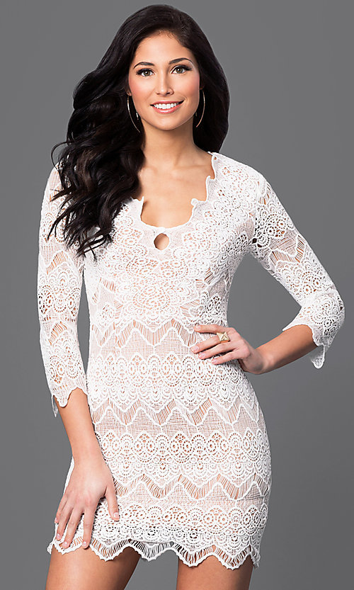 Image of short 3/4 sleeve v-neck lace dress Style: LUX-LD2260 Front Image