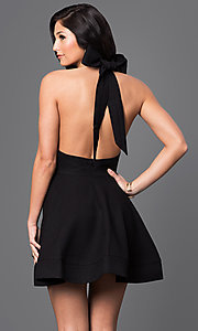 Image of short open-back fit-and-flare halter dress Style: LUX-LD1872 Back Image
