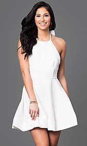 Image of short open-back fit-and-flare halter dress Style: LUX-LD1872 Detail Image 3