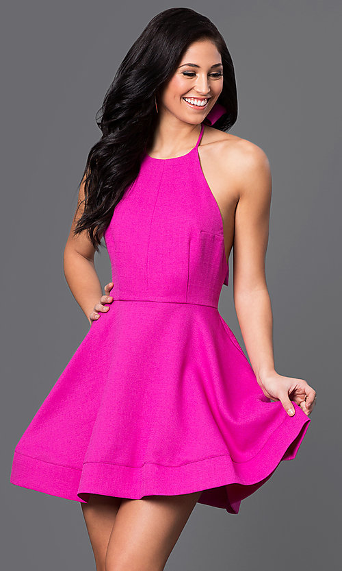 Image of short open-back fit-and-flare halter dress Style: LUX-LD1872 Detail Image 2