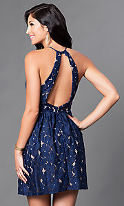 Image of short navy and tan open-back lace homecoming dress. Style: CT-6633ST2C Back Image