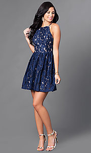 Image of short navy and tan open-back lace homecoming dress. Style: CT-6633ST2C Detail Image 1