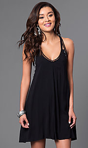 Image of v-neck shift dress with lacey racerback. Style: CT-7114BFBM Front Image