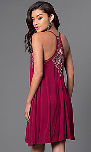 Image of v-neck shift dress with lacey racerback. Style: CT-7114BFBM Back Image
