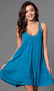 Image of v-neck shift dress with lacey racerback. Style: CT-7114BFBM Detail Image 1