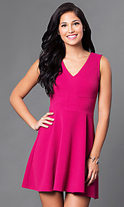 Image of sangria pink homecoming dress with v-neck bodice. Style: CT-KBY7164C Front Image