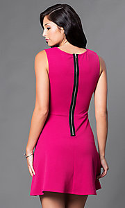 Image of sangria pink homecoming dress with v-neck bodice. Style: CT-KBY7164C Back Image