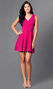 Image of sangria pink homecoming dress with v-neck bodice. Style: CT-KBY7164C Detail Image 1