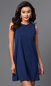 Image of short blue semi-casual shift dress by Jump. Style: JU-TI-88362 Front Image