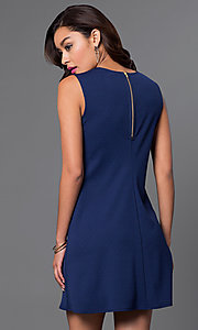 Image of short blue semi-casual shift dress by Jump. Style: JU-TI-88362 Back Image