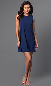 Image of short blue semi-casual shift dress by Jump. Style: JU-TI-88362 Detail Image 1