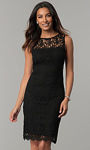 Image of navy blue sleeveless short lace party dress. Style: JU-TI-88524 Front Image