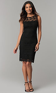 Image of navy blue sleeveless short lace party dress. Style: JU-TI-88524 Detail Image 2