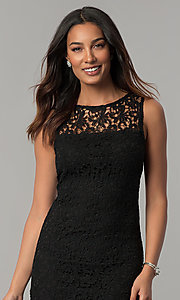 Image of navy blue sleeveless short lace party dress. Style: JU-TI-88524 Detail Image 1