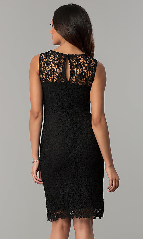 Image of navy blue sleeveless short lace party dress. Style: JU-TI-88524 Back Image